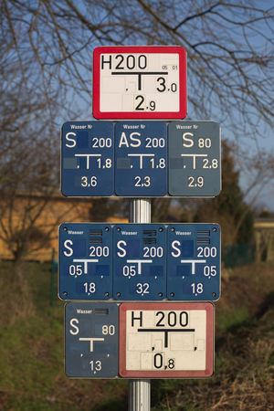 water s: Collection of gate valve and water hydrant signs in Germany. Stock Photo
