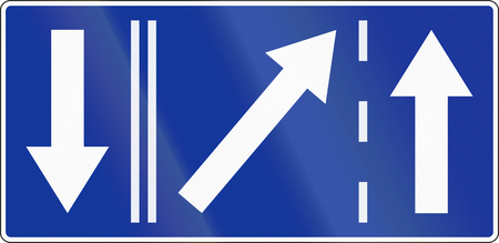 opposing: Polish road sign: Left lane ends, shown with opposing traffic.