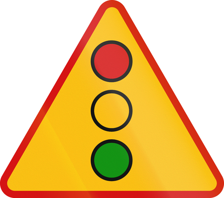 warning lights: Polish sign warning about traffic lights.