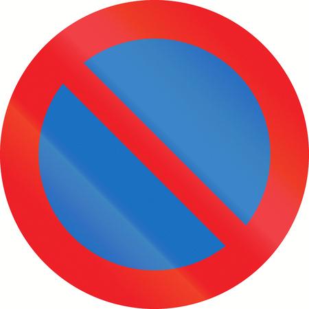 the carriageway: Austrian traffic sign: No parking along carriageway. Stock Photo