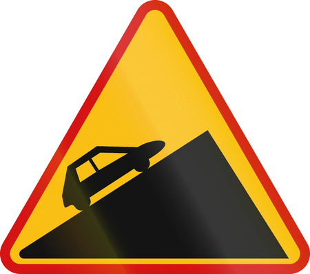 to incline: Polish warning sign about incline.