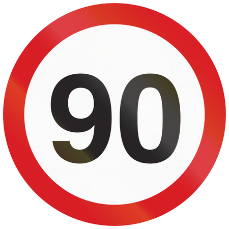 restricting: Argentinian traffic sign restricting speed to 90 kilometers per hour.