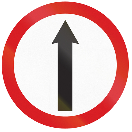 restricting: Argentinian sign restricting the driving direction to straight. Stock Photo