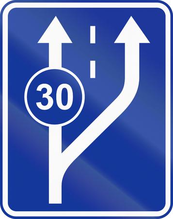 slow lane: Polish traffic sign: Start of slow lane.