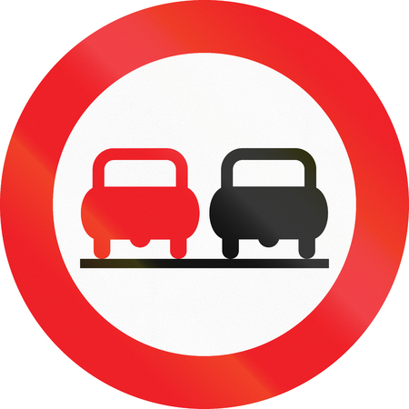 image date: Austrian traffic sign: No overtaking! Stock Photo