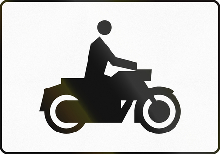 specify: Polish traffic sign additional panel to specify the meaning of other signs: Motorcycles Stock Photo