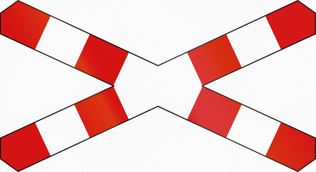 single track: Polish warning sign for single track level crossing, horizontal variant.
