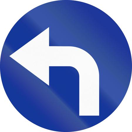 turn left: Segnale stradale polacca: Girare a sinistra avanti