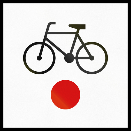 informational: Polish informational sign: Beginning or end of regional cycle route.