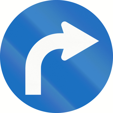 image date: Austrian traffic sign: Turn right ahead Stock Photo