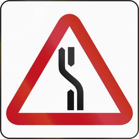 the carriageway: Road sign in Brunei: Carriageway Diverts To Left