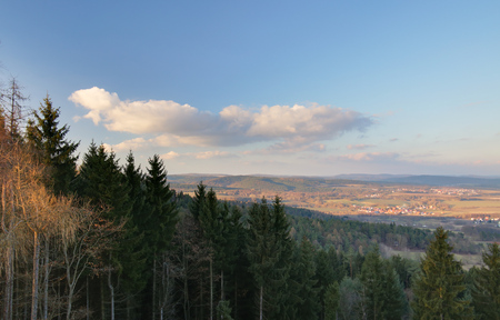 hesse: View from the Bodesruh memorial lookout tower at the former Inner-German border between Thuringia and Hesse. Wildeck, Bosserode can be seen on the right.