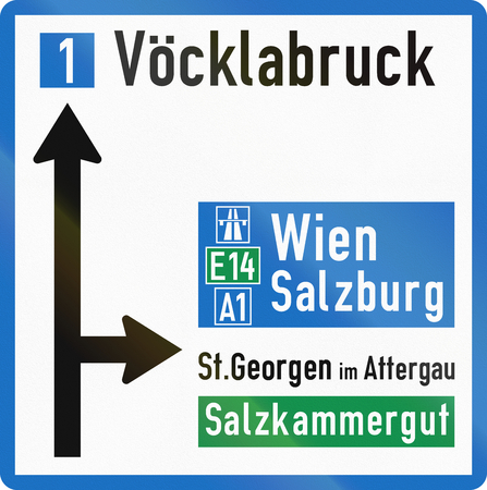 right handed: Austrian direction sign on approach to junction. Stock Photo