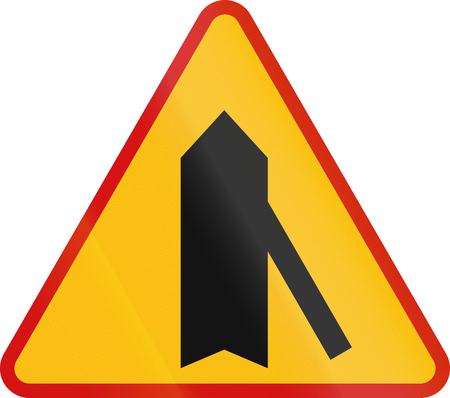 acute angle: Polish danger warning sign: 45 degree intersection, priority over other road.