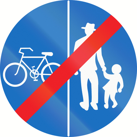 red handed: Austrian traffic sign at the end of a shared-use path with separate lanes, left lane for bicycles and right lane for pedestrians.