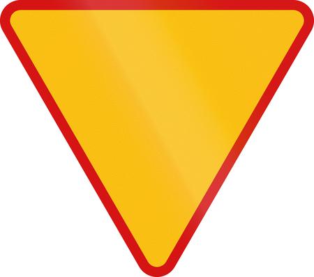 give the way: Polish traffic sign: Give way! Stock Photo