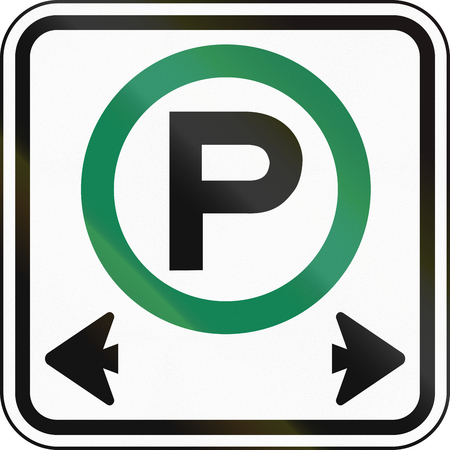 permitted: Canadian road sign: Parking permitted in both directions Stock Photo