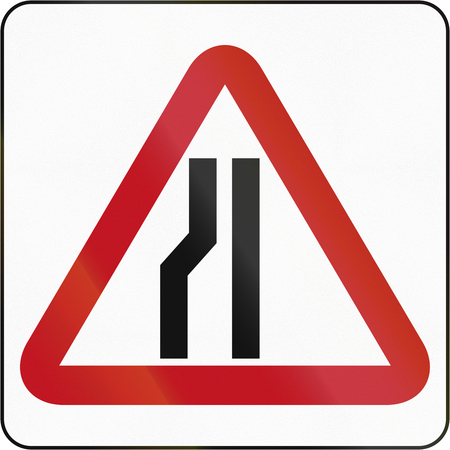 red handed: Bruneian sign indicating narrowing of the road only on the left.