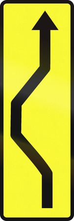 deviation: Polish complementary sign: Road deviation Stock Photo