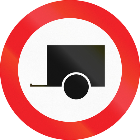 towing: Austrian regulatory sign 6d - no motor vehicles towing trailers.