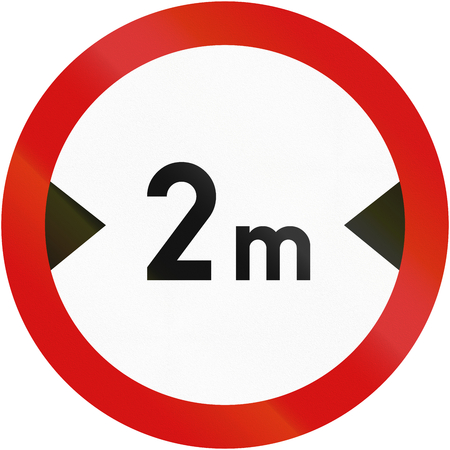 width: Polish sign prohibiting thoroughfare of vehicles with a width over 2 meters. Stock Photo