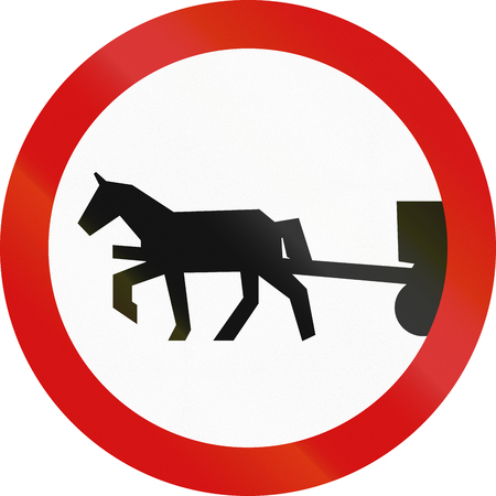 thoroughfare: Polish sign prohibiting thoroughfare of horse drawn carriages.