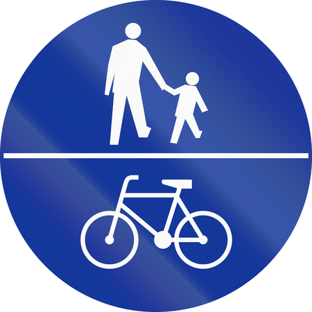 image created 21st century: Polish traffic sign on a shared-use path.