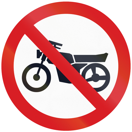 thoroughfare: Argentinian sign prohibiting thoroughfare for motorcycles. Stock Photo