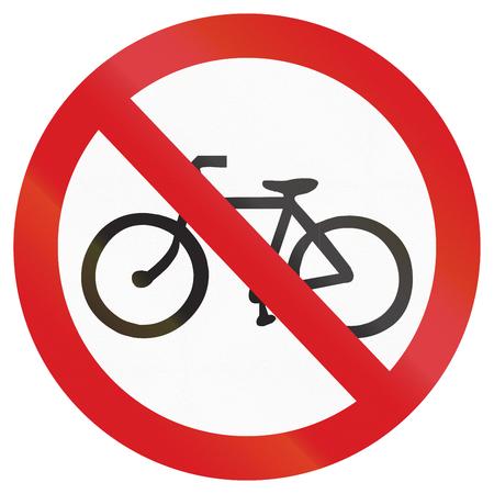 thoroughfare: Argentinian traffic sign prohibiting thoroughfare of bicyles. Stock Photo