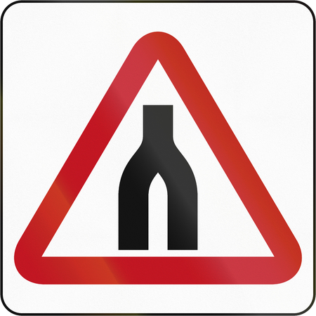 the carriageway: Road sign in Brunei: Dual Carriageway Ends