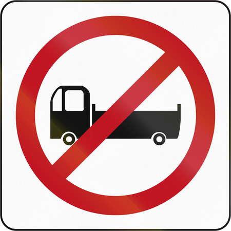 thoroughfare: Bruneian traffic sign prohibiting thoroughfare of lorries. Stock Photo