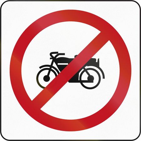 thoroughfare: Bruneian sign prohibiting thoroughfare for motorcycles. Stock Photo