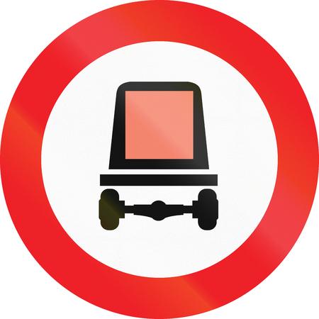 goods: Austrian traffic sign prohibiting thoroughfare of motor vehicles subject to identification of dangerous goods. Stock Photo