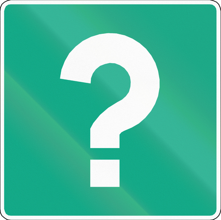 orthographic symbol: Chilean road sign with question mark: Information, variant A Stock Photo