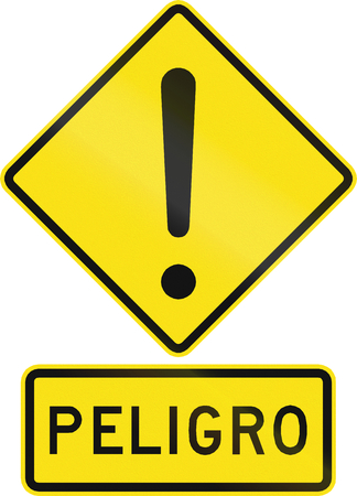 orthographic symbol: Chilean road warning sign: Peligro  Danger Stock Photo