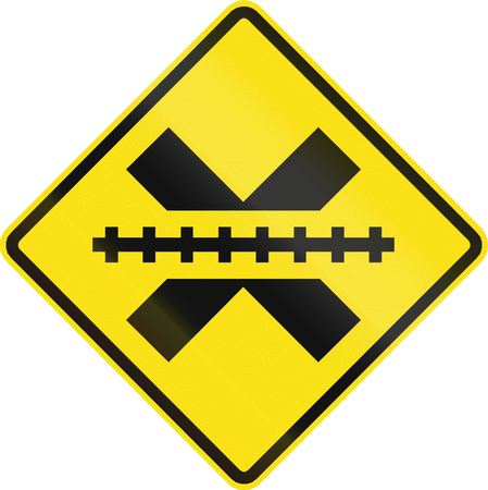 railroad crossing: Warning road sign in Chile: Railroad crossing without gates or barriers ahead. Stock Photo