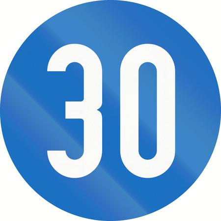 image created 21st century: Austrian traffic sign: Minimum speed of 30 kilometers per hour.