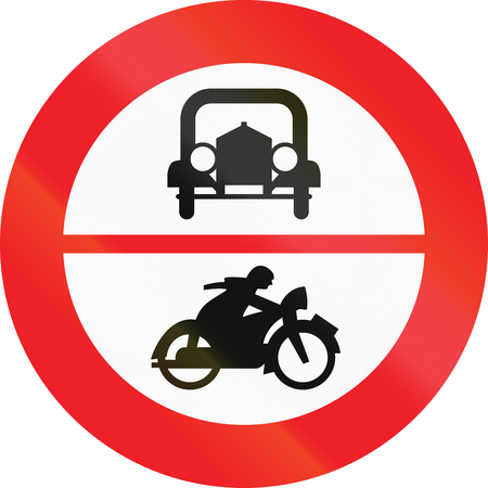Austrian traffic sign prohibiting thoroughfare of cars and motorcycles. photo