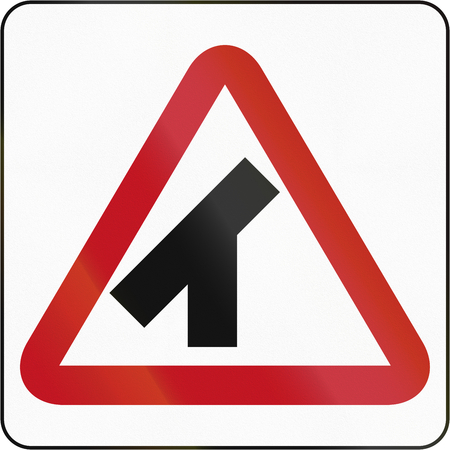 acute angle: Bruneian danger warning sign: 45 degree intersection Stock Photo