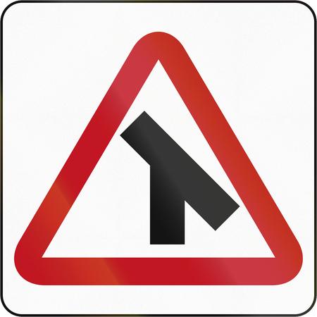 45: Bruneian danger warning sign: 45 degree intersection Stock Photo