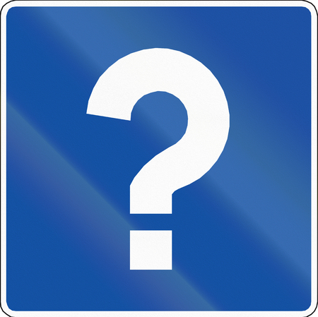 orthographic symbol: Chilean road sign with question mark: Information, variant B Stock Photo