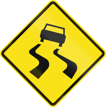 skidmarks: Chilean road warning sign: Slip danger Stock Photo