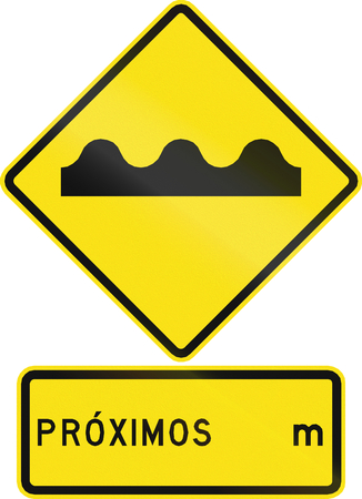 pot hole: Warning road sign in Chile: Uneven road ahead. Proximos means distance. Stock Photo