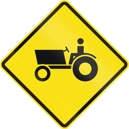 tractor warning sign: Chilean road warning sign: Tractorfarm vehicle crossing Stock Photo