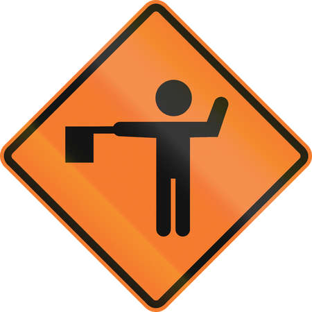 Chilean warning traffic sign: Flaggers in road ahead.