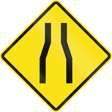 one lane road sign: Chilean road warning sign: One lane roadnarrow road ahead