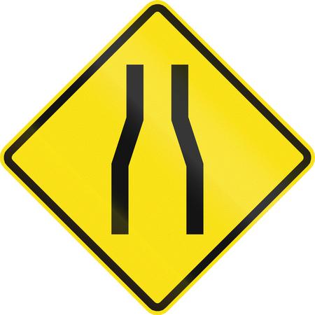 Chilean road warning sign: One lane roadnarrow road ahead