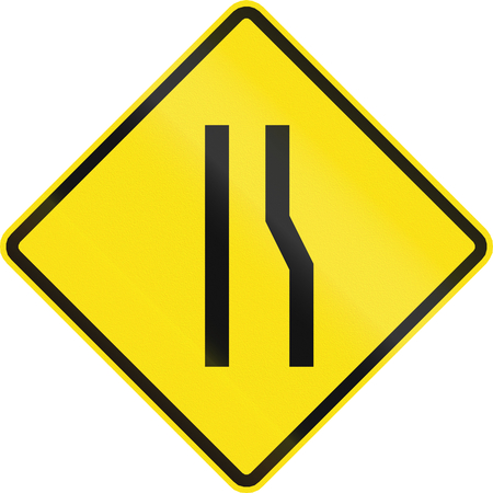 one lane road sign: Chilean road warning sign: Road narrows on the right