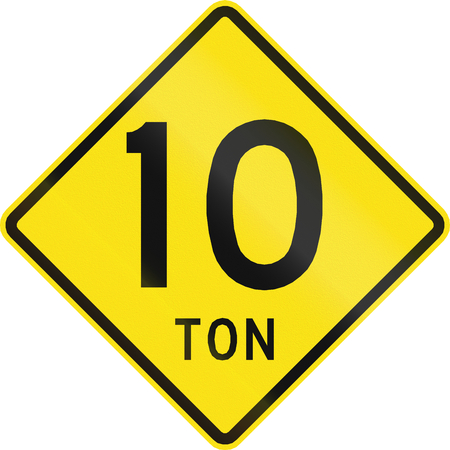 restriction: Warning road sign in Chile: Weight restriction ahead (10 tons)