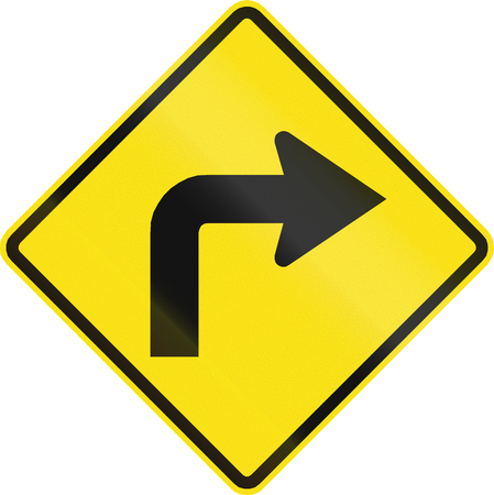 curve road: Chilean road warning sign: Right curve ahead